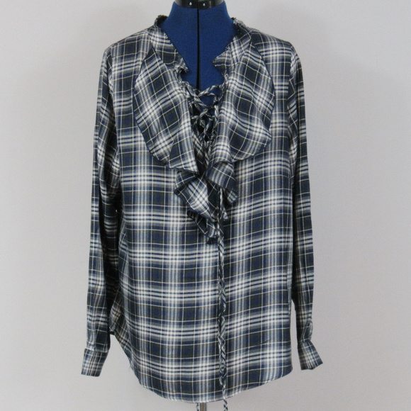 425961a13a2 Jane   Delancey Ruffled Flannel Top Large NWT